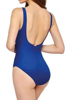 Синий сплошной купальник с молнией по центру